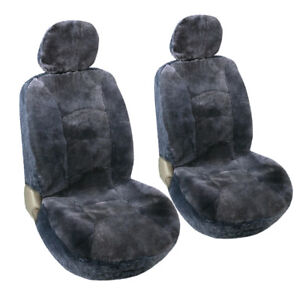 Two Sheepskin Front Seat Covers For Car Truck Suv Gray With Headrest Cover