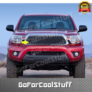 For Toyota Tacoma 2012 2013 2014 2015 Steel Black Mesh Grille W Silver Rivet