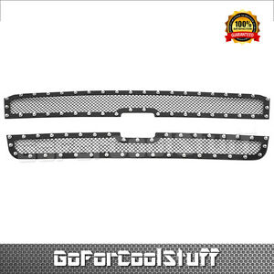 For Chevy Silverado 1500 Ss 2003 2004 2005 Upper Black Steel Wire Mesh Grille