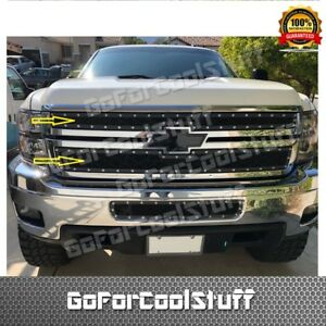 For Chevy Silverado 2500 3500 2011 2012 2013 2014 Steel Black Upper Mesh Grille