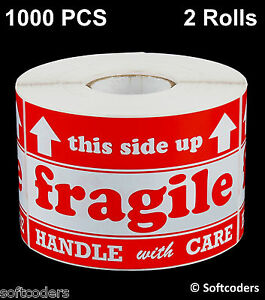 1000 Labels Stickers Fragile Handle With Care 500 Per Roll Size 3x5