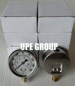 10 Pack Liquid Filled Pressure Gauge Hydraulics 2 5 Dial 160 Psi Lower Mnt 1 4