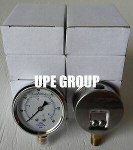 10 Pack Liquid Filled Pressure Gauge Hydraulics 2 5 Dial 60 Psi Lower Mnt 1 4