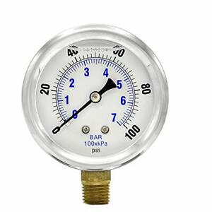 10 Pack Liquid Filled Pressure Gauge Hydraulics 2 5 Dial 100 Psi Lower Mnt 1 4