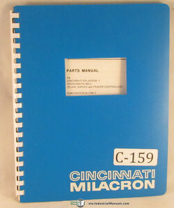 Cincinnati Milacron Hydromatic Tracer Control Milling Parts Manual