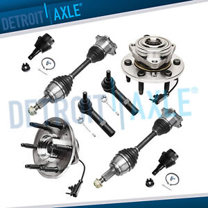 Chevy Silverado 1500 Yukon Front Wheel Hub Cv Axle Lower Ball Joint Tie Rod 4wd