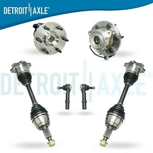 6 Pieces Both 2 Brand New Front Wheel Bearing 2 Cv Axles 2 Tie Rod Ends