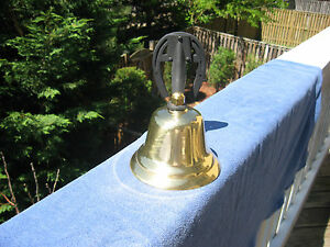 Vintage Brass Dinner Farm Bell With Horseshoe Mount Made In Japan