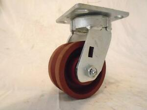 4 X 2 Swivel Caster Kingpinless 7 8 V groove Ductile Steel Wheel 1500 Lbs