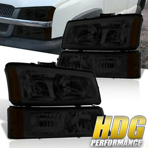03 06 Chevy Silverado 1500 2500 Smoked Lens Amber Headlights Bumper Lamps
