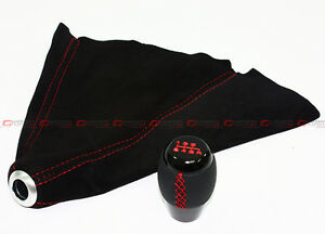 Fits Mazdaspeed 3 6 Rx8 6 Speed Shifter Knob Suede Shift Boot W Red Stitching