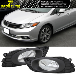 Fits 2012 Honda Civic 4dr Pair Of Fog Lights Driving Lamps Clear Lens Oe Style