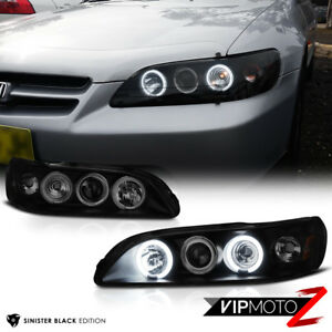 Sinister Black 1998 2002 Honda Accord Coupe Sedan Angel Eye Projector Headlights