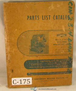 Cincinnati 2 3 4 Dial Type Plain Universal Vertical Mill Parts List Manual