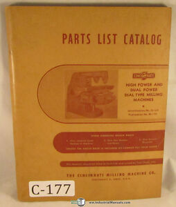 Cincinnati 3 4 And 5 Univ Plain Vertical Mill 6 Plain Vertical Parts Manual