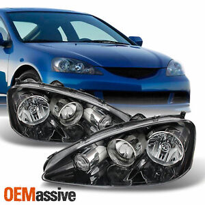 Fit 2005 2006 Rsx Integra Dc5 Black Clear Headlights Front Lamp Replacement Pair