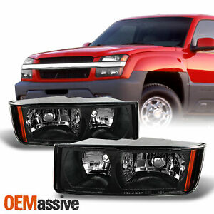 Fit 2002 2006 Chevy Avalanche Body Cladding Model Black Headlights Replacement