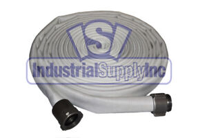 Fire Hose Double Jacket 1 1 2 X 50 Ft Lay flat Aluminum Nst Ends