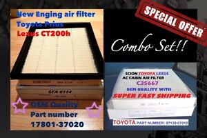 Combo Set Engine Cabin Air Filter Prius Ct200h 17801 37020 Oem Quality