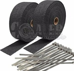 2 Black Exhaust header Heat Wrap 2 X 50 Roll With Stainless Steel Ties New
