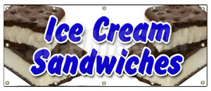 48 x120 Ice Cream Sandwiches Banner Sign Cones Homemade Sundae Waffle Flavors