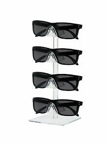 Lot Of 12 Clear 4 Tier Sunglasses Eyeglasses Counter Square Display Stand