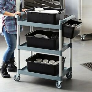 Utility Bus Cart On Wheels Restaurant Food Service 3 Tier Serving Cart