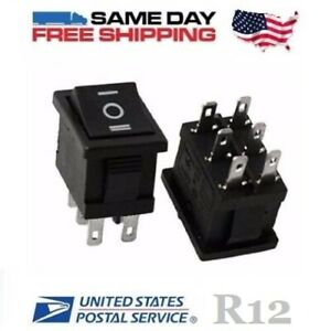 2 X Mini Dpdt Double Pole Double Throw 6 pin on off on 10amp Rocker Switches