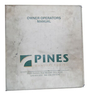 Pines Bender Hydraulic Rotary Owner Operation Schematics Parts