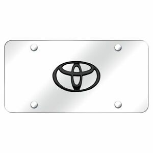 Toyota Logo Black Pearl Chrome Front License Plate Stainless Steel Trd Novelty