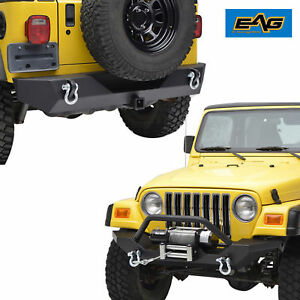 Front Bumper W winch Plate rear Bumper With D rings For 97 06 Jeep Wrangler Tj
