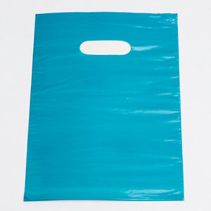 1000 Bags Teal Low density Plastic Shopping Merchandise Diecut Handles 9 X 12