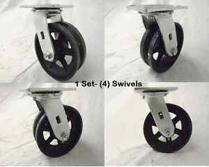 6 X 2 Swivel Caster 7 8 V groove Iron Steel Wheel 4 1000 Lbs Each