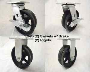 6 X 2 Swivel Caster 7 8 V groove Iron Steel Wheel Brake Rigid 1000 Lbs Each