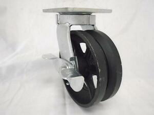 6 X 2 Swivel Caster Kingpinless W Brake 7 8 v groove Iron Steel Wheel 1000lbs
