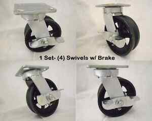 6 X 2 Swivel Caster Kingpinless 7 8 v groove Iron Steel Wheel Brk 1000lb Ea 4