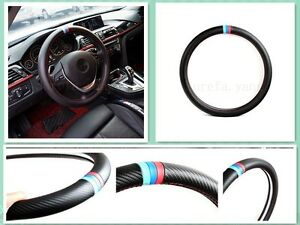 1pcs New M Power Black Carbon Fiber Luxury Car Steering Wheel Cover For M3 M5 M6