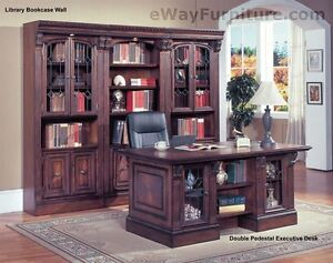 Traditional Home Office Furniture Wood Double Pedestal Executive Desk