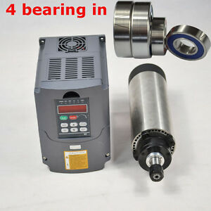 65mm Dia Air cooled Motor Spindle 1 5kw Er11 Four Bearing And Inverter Drive Vfd