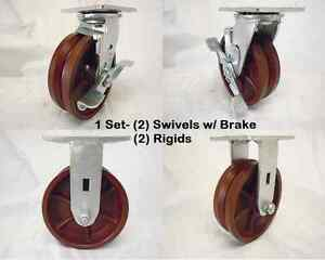 6 X 2 Swivel Caster 7 8 V groove Ductile Steel Wheel Brake Rigid 1500lbs Ea