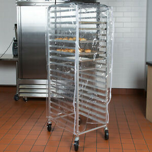 63 Sheet Pan Clear Cover For 20 Tier Bun pan Bakery Rack With 3 Zippers