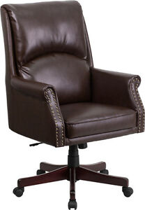 Flash Furniture High Back Pillow Back Brown Leather Executive Swivel Office
