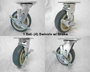 6 X 2 Swivel Caster Thermoplastic Rubber Wheel W Brake 500lbs Ea 4 Tool Box