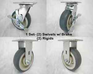 6 X 2 Swivel Caster W Brk Thermoplastic Rubber Wheel rigid 500lbs Ea Tool Box