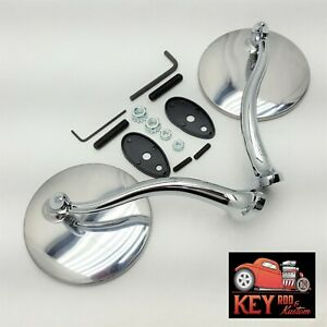 4 Round Swan Neck Stainless Chrome Side View Mirrors Hot Rod Chevy Ford