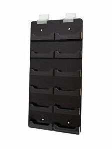 Slat Wall 12 Black Acrylic Pocket Business Card Holder Horizontal Wall Mount