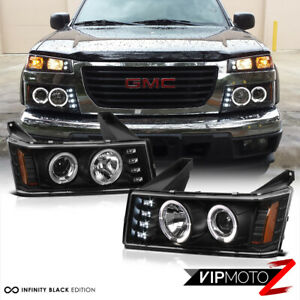 For 04 12 Chevy Colorado Gmc Canyon Black Halo Led Drl Projector Headlight Lamp