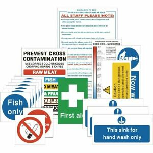 Vogue Senior Hygiene Catering Signs Pack Of 17 Self Adhesive Notices