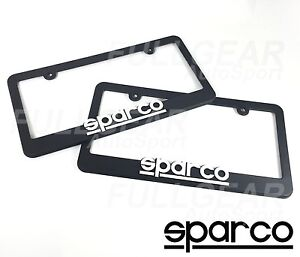 Sparco Racing Black Color Plastic License Plate Frame One Pair