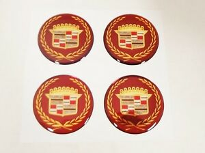 4 New Cadillac True Spoke 1 3 4 Burgundy Gold Wire Wheel Emblems